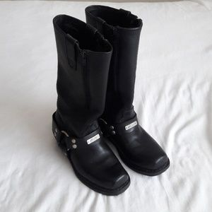 Heavy Duty Black Leather Motorcycle Boots Size 6